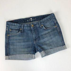 7 For All Mankind raw cuffed denim shorts
